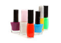 Nail polish set on white background Royalty Free Stock Photo