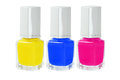 Nail polish three bottles of on white background Stock Photography