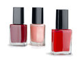 Nail polish three manicure isolated on white Stock Photos