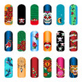Nail stickers set of vintage tattoo art designs for beauty salon Stock Photo