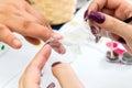 Nailon Beauty nails construction whit gel Royalty Free Stock Photo
