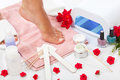 Nails spa nail manicure and pedicure with equipment Stock Images