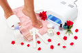 Nails spa nail manicure and pedicure with equipment Royalty Free Stock Photography