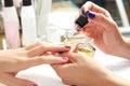 Nails top coat finishing vernis after nail polish Royalty Free Stock Photo