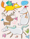 Naive animals illustration of drawing Royalty Free Stock Photo