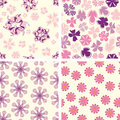 Naive flowers in pattern Royalty Free Stock Photo