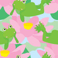 Naive frog relax melancholy seamless pattern illustration abstract lotus cloud sky green color background Royalty Free Stock Photos