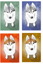 Naive huskies vector drawing options sitting Royalty Free Stock Image