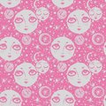 Naive kawaii night space composition seamless pattern.