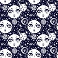 stock image of  Naive kawaii night space composition seamless pattern.