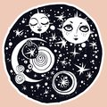 Naive kawaii night space composition with sun and moon faces.