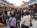 Nakamise dori shopping street in asakusa tokyo leading to senso ji temple Stock Photography