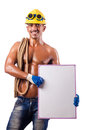 Naked builder with  board Royalty Free Stock Image