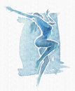 Naked Modern Dancer Watercolor Blue Stock Photos