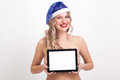Naked to the waist beautiful blonde with big breasts in blue New Royalty Free Stock Photo