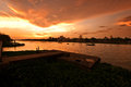 Nakhon Chaisi river at sunset Royalty Free Stock Photography