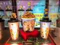 Nakhon Ratchasima/Thailand - Oct 14 2018:teddy house cup and Popcorn bucket set teddy house on the shelf at the cinema
