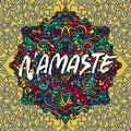 Namaste modern dry brush lettering on mandala pattern background. Yoga typography poster. Vector illustration. Royalty Free Stock Photo