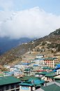 Namche bazaar village view capital of sherpa people nepal sagarmatha national park everest region himalayas located at m Royalty Free Stock Image