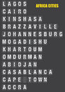 Names of african cities on split flap flip board display old fashion like travel destinations in airport flight information system Royalty Free Stock Photo
