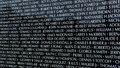 Names on Moving Wall traveing Vietnam War memorial exhibit Royalty Free Stock Photo