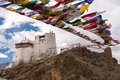Namgyal tsemo gompa with prayer flag Stock Photography