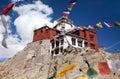 Namgyal tsemo gompa with prayer flags leh ladakh india jammu and kashmir Royalty Free Stock Photos