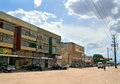 Nampula mozambique december the village a residential building in transport parked near and coming on Stock Photography