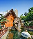 Nan lian garden waterwheel at nanlian in diamond hill district of hong kong china Stock Photos