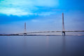 Nanjing cable stayed bridge in evening Stock Photography