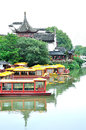 Nanjing qinhuai river china confucius temple area boat dock Royalty Free Stock Images