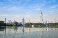 Nanjing skyline modern city with the beautiful lake in morning Stock Image