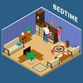 Nanny Child Bedtime Isometric Composition