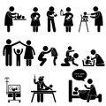 Nanny Mother Father Baby Child Care Pictogram Stock Photos