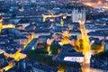 Nantes city at a summer night Royalty Free Stock Photo
