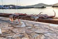 Naoussa paros drying octopus by the port of island greece Royalty Free Stock Image
