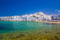 Naoussa town paros island cyclades aegean greece bay of Stock Images