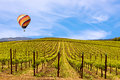 Napa Valley Vineyards, Spring, Mountains, Sky, Clouds, Hot Air Balloon
