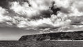 Napali coast in black and white dramatic panorama of the kauai hawaii islands Stock Photos
