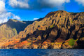Napali coast hills rugged at the dramatic na pali of kauai hawaii islands Royalty Free Stock Photo