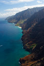 Napali coastline aerial view of the na pali on the island of kaua i hawaii Stock Image