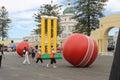 Napier, New Zealand - March 7, 2015: ICC Cricket World Cup, Marine Parade Gardens Park Festivities. Royalty Free Stock Photo
