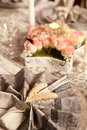 Napkin closeup on festive table of a decorated a fancy christmas dinner Stock Images