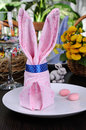 Napkin easter bunny festive table setting with Royalty Free Stock Image