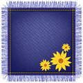 Napkin from jeans fabric and flowers with fringe yellow Stock Images
