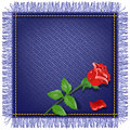 Napkin from jeans fabric and red rose with fringe Royalty Free Stock Photos