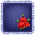 Napkin from jeans fabric and red roses with fringe Stock Photos