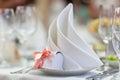 Napkin on a plate decorative restaurant wedding decor of table Royalty Free Stock Photos