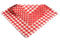 Napkins checkered red and white isolated. Royalty Free Stock Photo