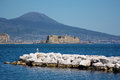 Naples castel dell ovo and the vesuvio landscape with Royalty Free Stock Image